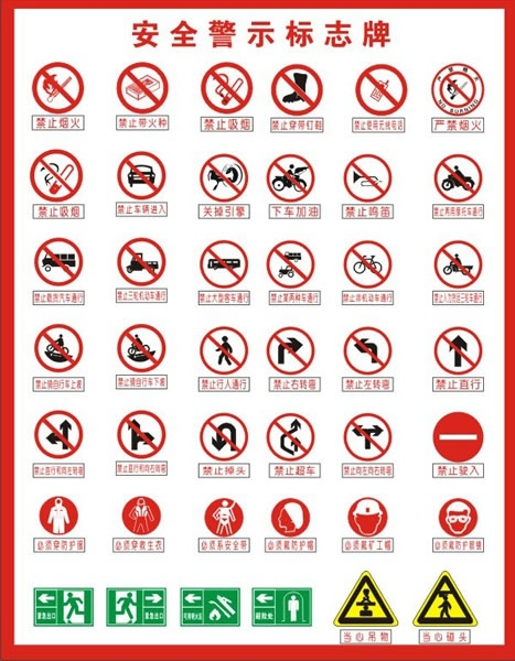 Safety Signs Collection Classical Flat Shapes Design Free CDR Vectors Art