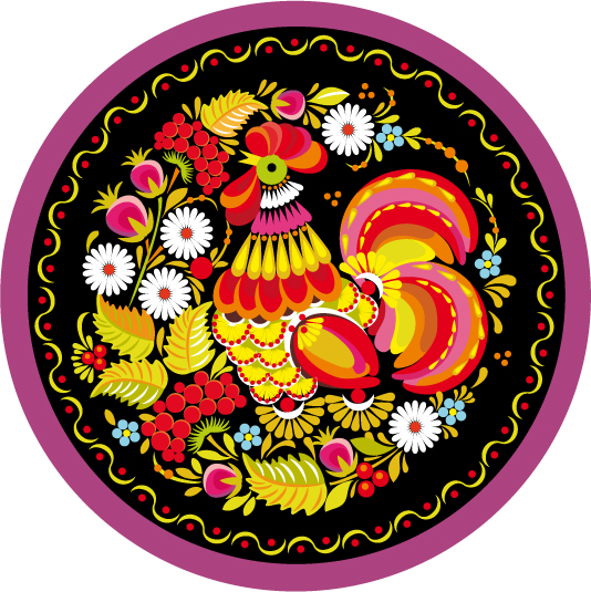 Traditional Pattern Cock Circle 048001 Free CDR Vectors Art