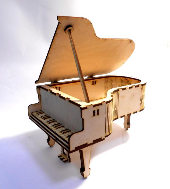 Laser Cut Wooden Piano Free CDR Vectors Art