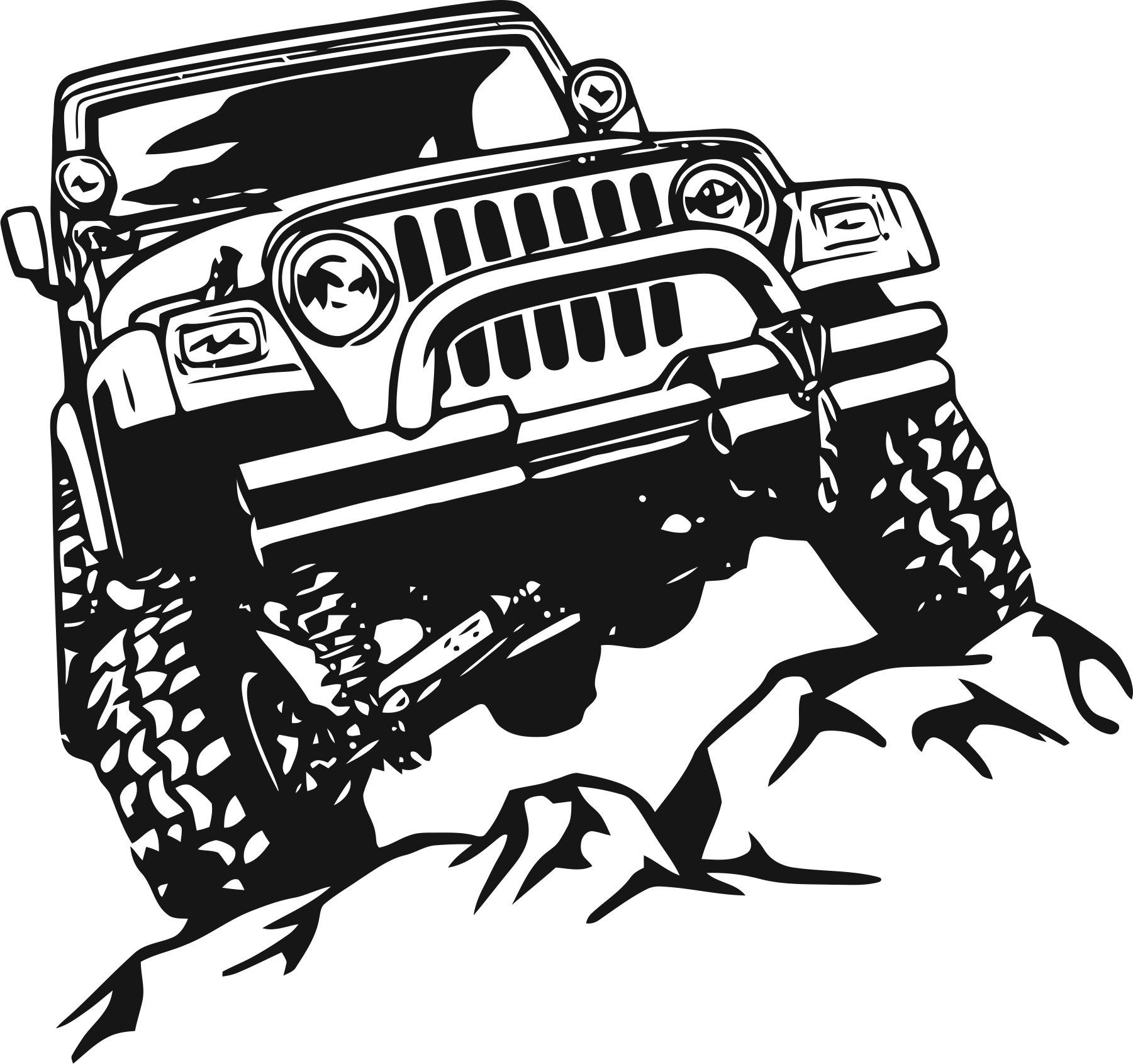 Offroad Jeep Sticker Free CDR Vectors Art
