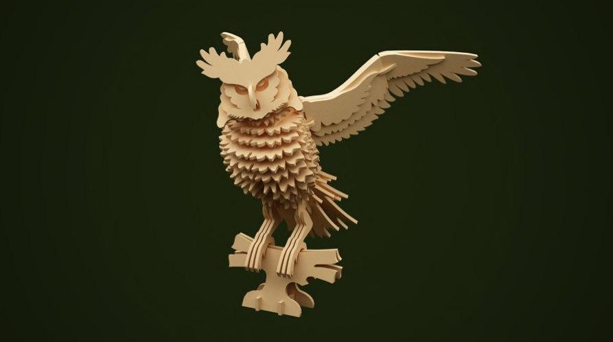 Owl 3D Puzzle Free CDR Vectors Art
