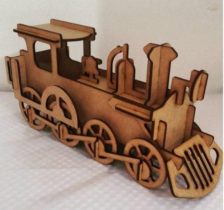 Wooden Locomotiva 3d Free CDR Vectors Art