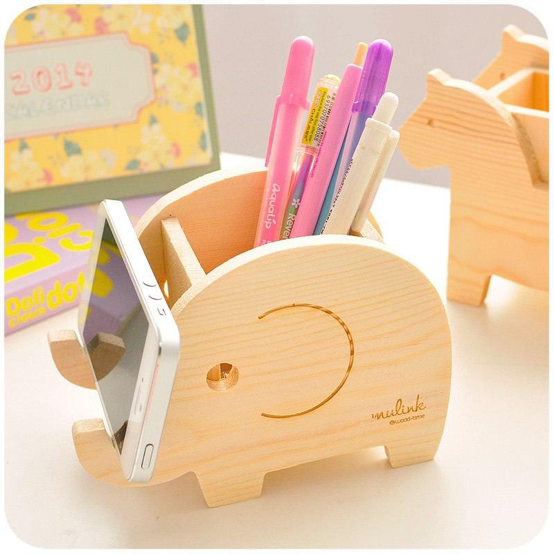 слон Wooden Pencil Holder Free CDR Vectors Art
