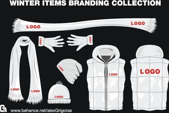 Winter Items Branding Collection Free CDR Vectors Art