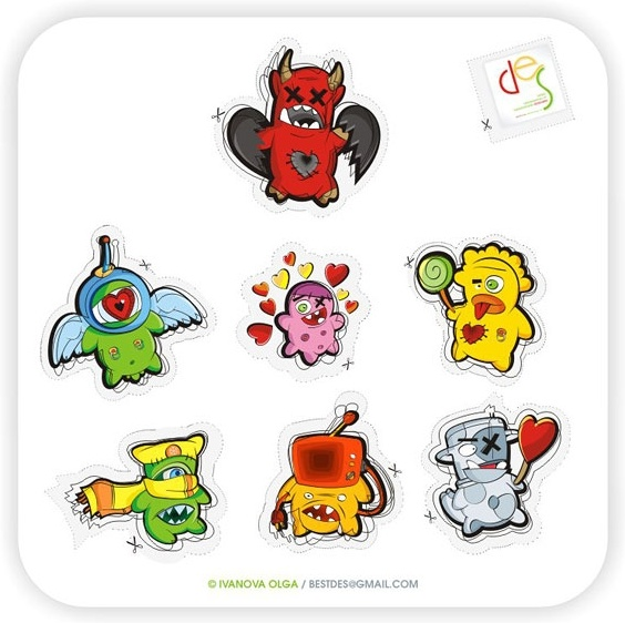 The trend of small monster icon Free CDR Vectors Art