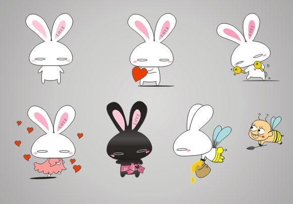 cute cartoon rabbit Free CDR Vectors Art