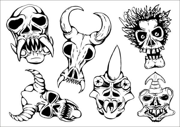 Ritual masks skull Free CDR Vectors Art
