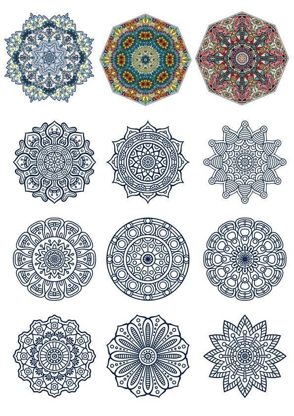 12 Doodle Circular Pattern Design Mandala Free CDR Vectors Art