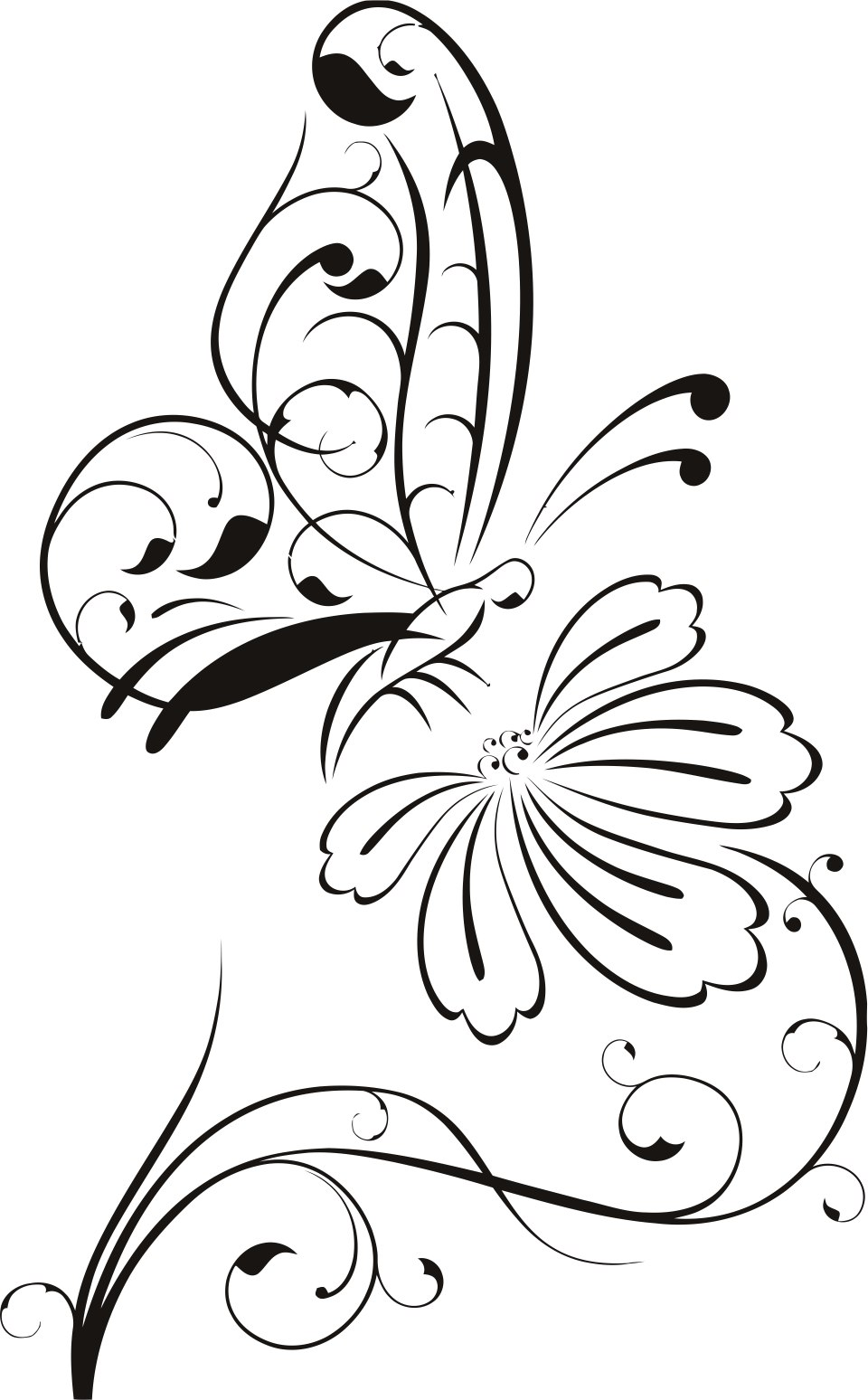 Home Decor Butterfly And Flower Free CDR Vectors Art