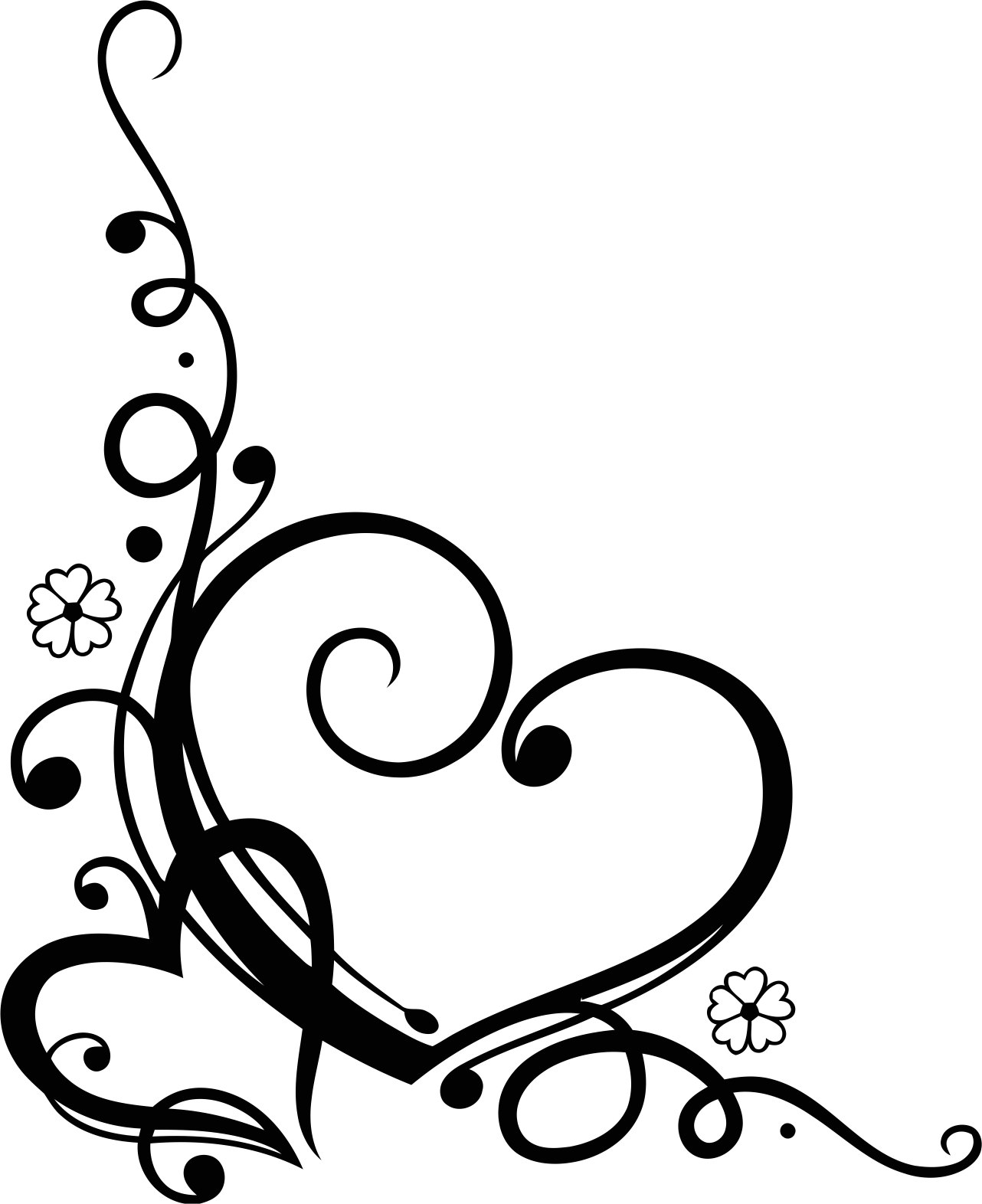Love Heart Floral Swirl Free CDR Vectors Art