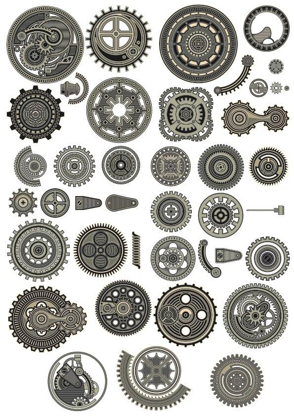 Steampunk Decor Set Free CDR Vectors Art