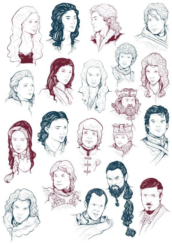 Game Of Thrones Cast Free CDR Vectors Art