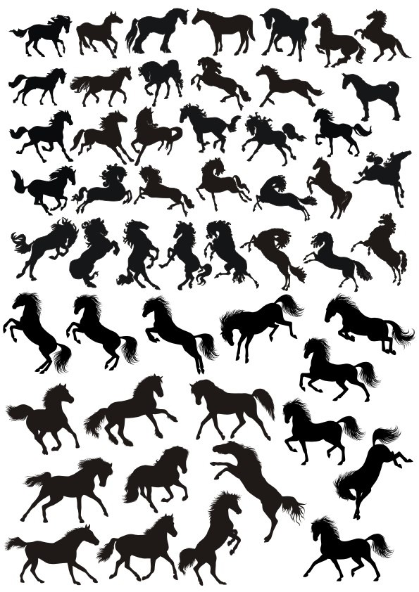 Black Horse Silhouette Free CDR Vectors Art