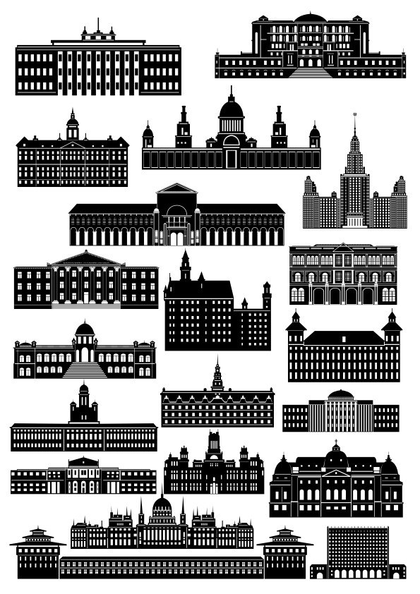 Beautiful Collection Of Buildings Free CDR Vectors Art