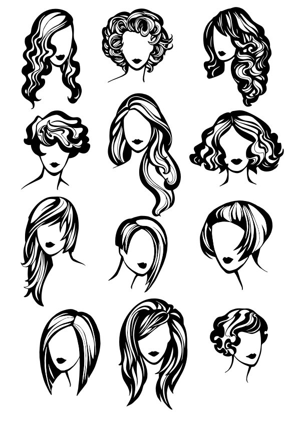 Girl Hair Style Free CDR Vectors Art