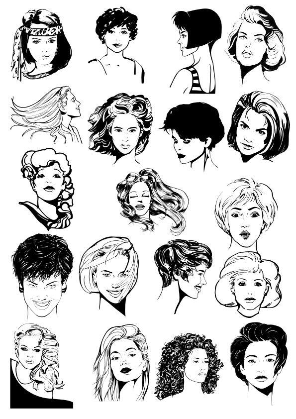 Women Faces  Collection Free CDR Vectors Art