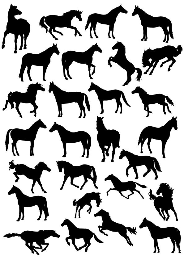 Horse Silhouette  Collection Free CDR Vectors Art