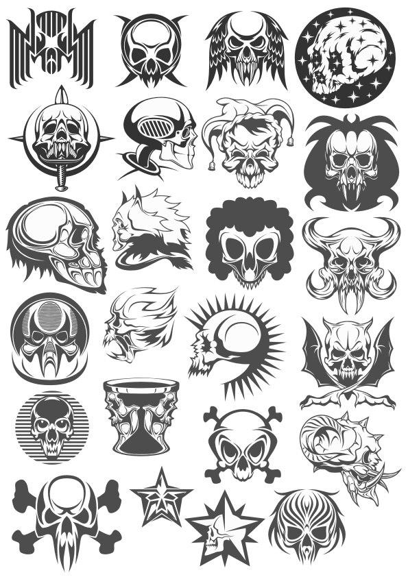 Collection Of Skulls Free CDR Vectors Art