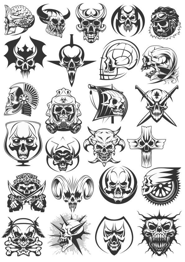 Skull Dead Heads Collection Free CDR Vectors Art