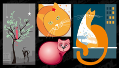Lovely cat vector illustration material Free CDR Vectors Art