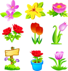 Flowers icons collection flat colorful design Free CDR Vectors Art