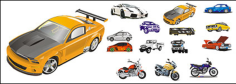 Automobile and motorcycle vector material Free CDR Vectors Art