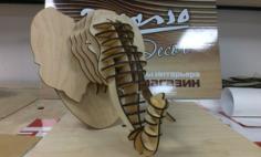 Elephant head 3D Puzzle Free CDR Vectors Art