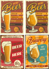 Retro Beer Posters 2 Free CDR Vectors Art
