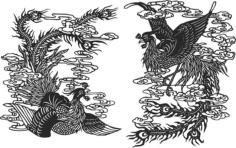 Ancient chinese phoenix Free CDR Vectors Art