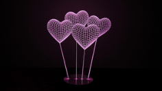 Heart 3D illusion Lamp Free CDR Vectors Art