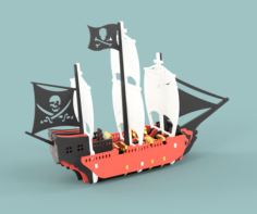 Pirate Ship Vector file for laser cutting CNC Free CDR Vectors Art