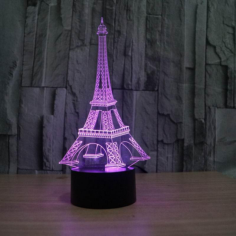 Eiffel Tower Decor 3D LED Night Light Free CDR Vectors Art