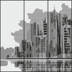 Cities Sandblasting drawings on the wardrobe Free CDR Vectors Art