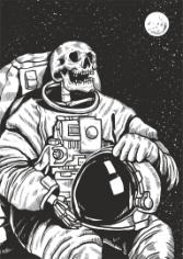 Skeleton Linocut Astronaut Print Free CDR Vectors Art