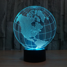 Planet Earth 3d illusion acrylic lamp Free CDR Vectors Art