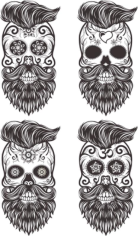 Painted Bearded Mustache Skull Free CDR Vectors Art