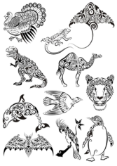 Ornament Animals Tattoo Vectors Pack Free CDR Vectors Art