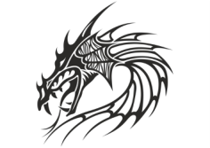 Chinese Dragon Head Tattoo Free CDR Vectors Art