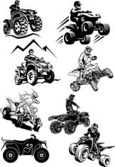 Quad Bike Silhouette Free CDR Vectors Art