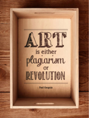 Art is either plagiarism or revolution sticker Free CDR Vectors Art
