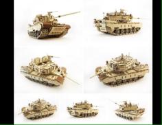 Tank 3D Wooden Puzzle Solution Free CDR Vectors Art