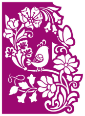 Floral panel with bird cnc router laser cutting Free CDR Vectors Art