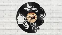 The Head of a Girl Vinyl Clock Free CDR Vectors Art