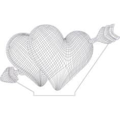 Double hearts 3d illusion lamp Free CDR Vectors Art