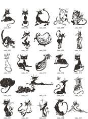 Tribal Cat Tattoo Set Free CDR Vectors Art