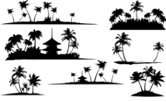 Tropical Islands Silhouette Free CDR Vectors Art