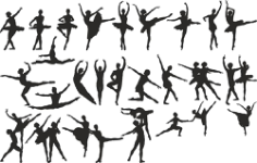 Ballet Dancer Silhouette Free CDR Vectors Art