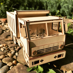 Kamaz  Laser Cut Wooden 3D Model Puzzle Kit Free CDR Vectors Art