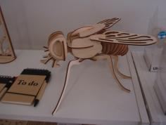 Fly 3D Woodcraft Hobby Wooden Model Laser Cut Free CDR Vectors Art