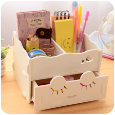 Wooden Storage Box Desk Organizer for Cosmetics Free CDR Vectors Art